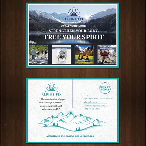 Postcard design for Alpine retreats