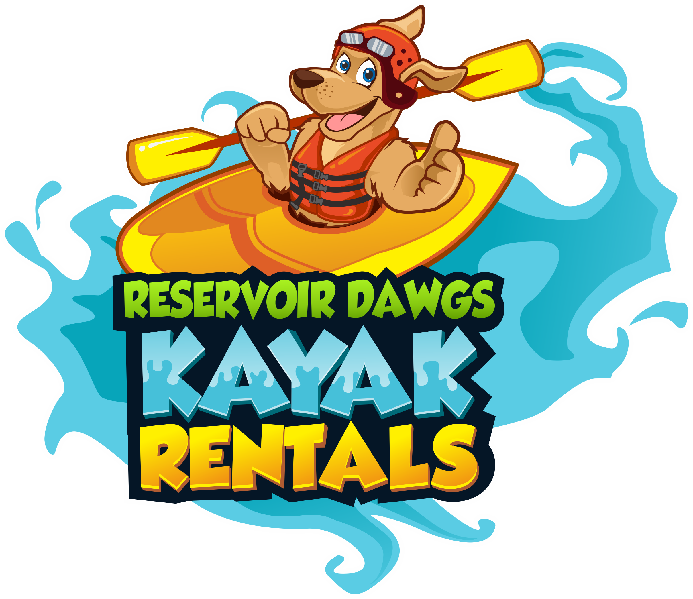 I need a bold eye catching sign that you can't miss for Reservoir Dawgs kayak rentals