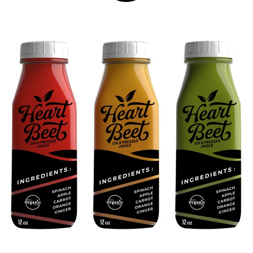 Label Designs for Heart Beet - Cold Pressed Juice