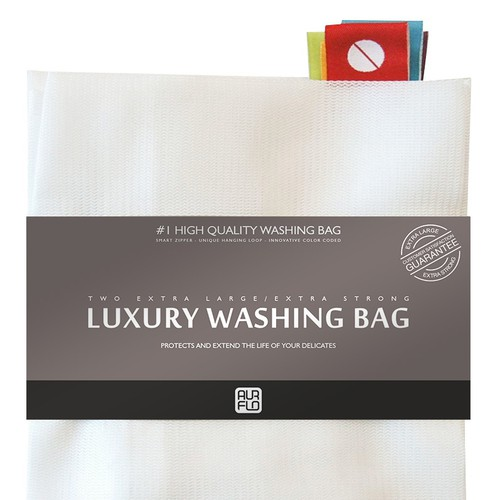 Create a simple and elegant warp band for luxury laundry bag packaging