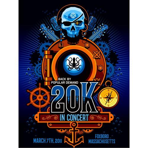 Steampunk-Nautical poster illustration-design