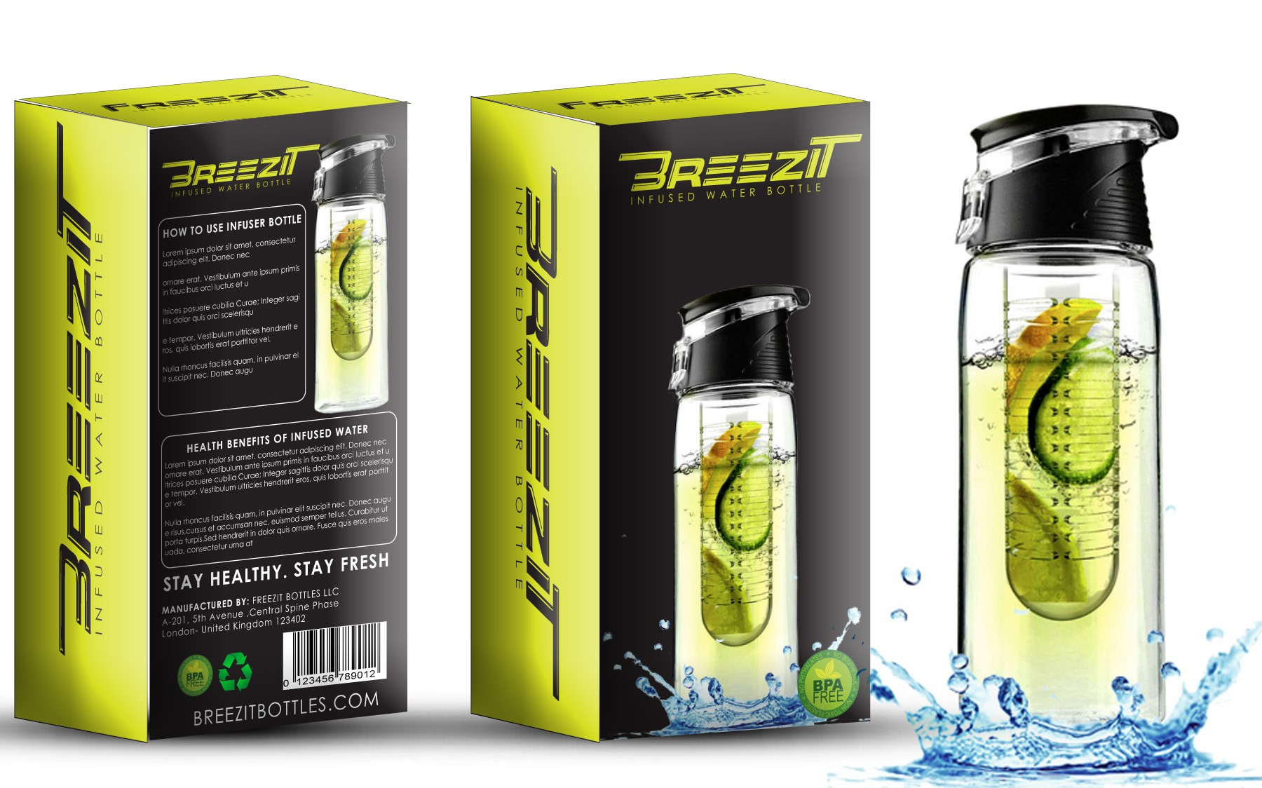 Create a modern premium box packaging design for infuser water bottle
