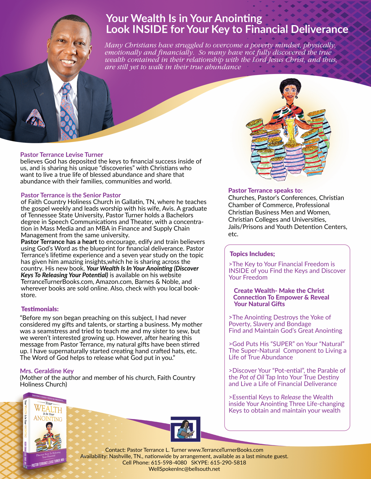 "Speaker One-Sheet-""Your Wealth Is In Your Anointing"""