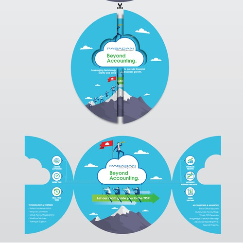 "Kickass tri-""cloud"" brochure for cloud accounting team"
