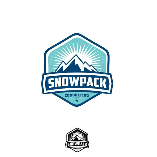 Mountain themed logo with snow