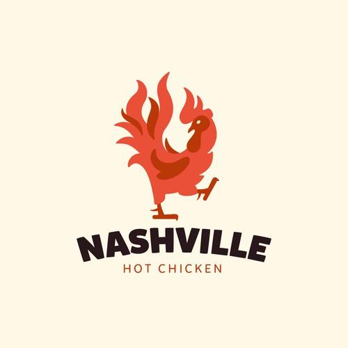 Fiery rooster logo
