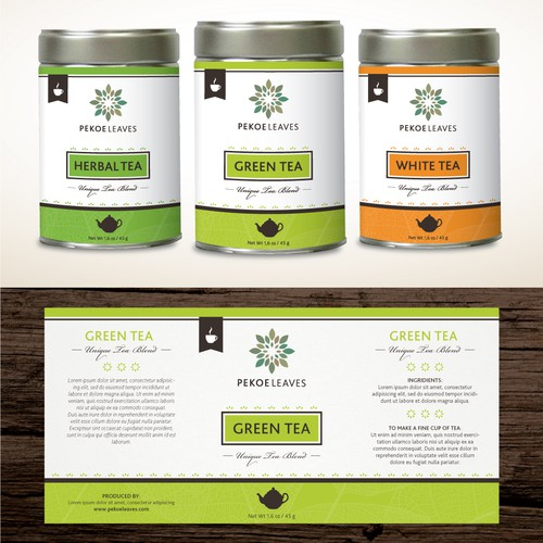 Product label for artisanal teas with a classy, modern and bold look