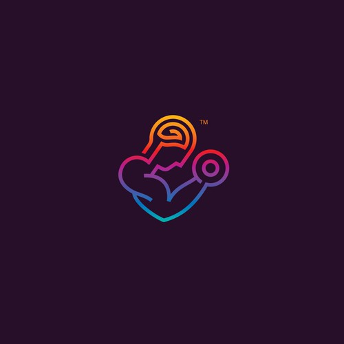Amazing colorful line art logo for MindMuscle.co