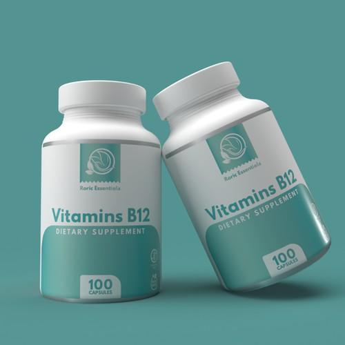 Vitamins B12 bottle label