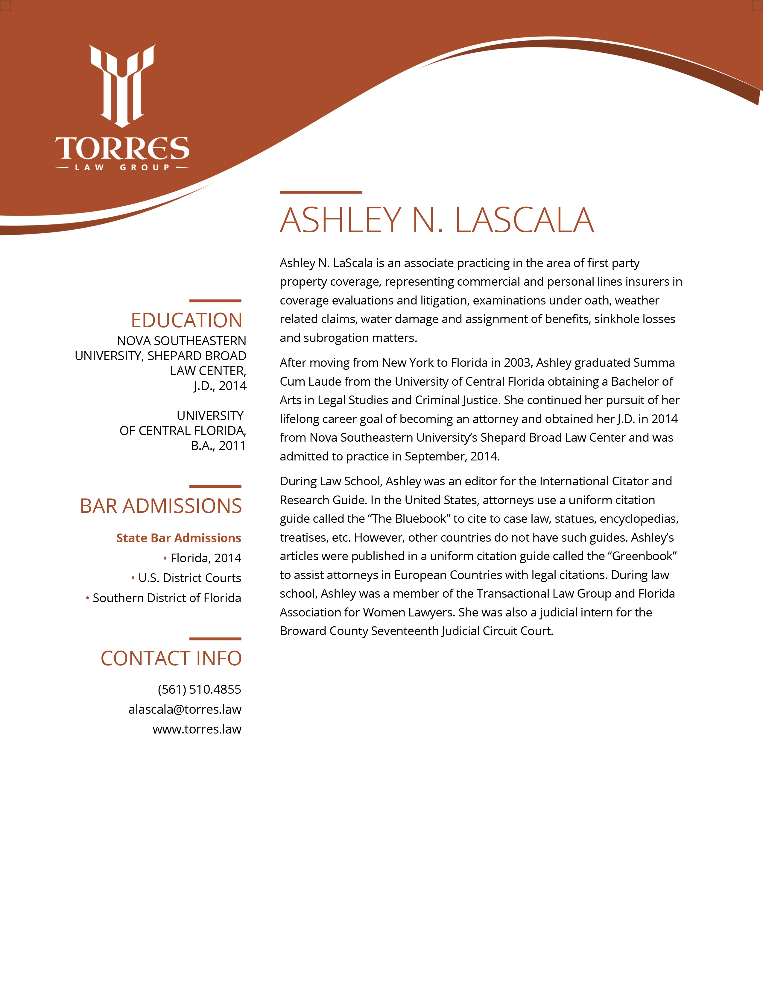 Tri-fold brochure for contemporary law firm