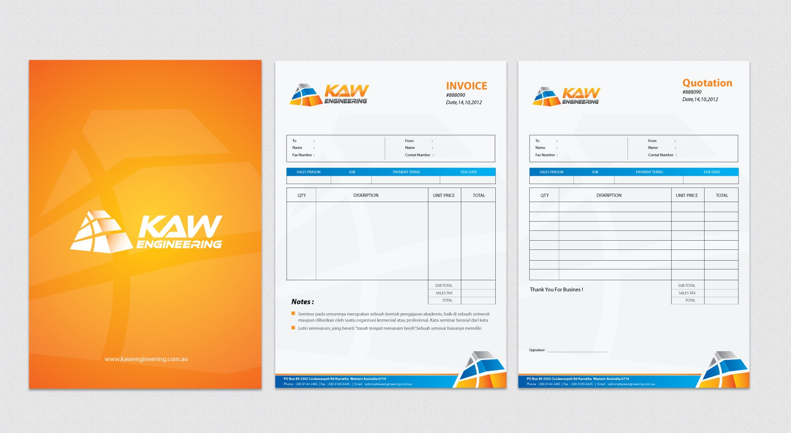 stationery for KAW Engineering Pty Ltd