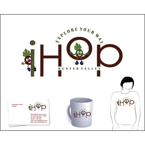 Create a unique logo for a new hop on/hop off bus service in a wine region.