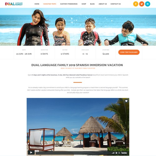 Home page for tourism