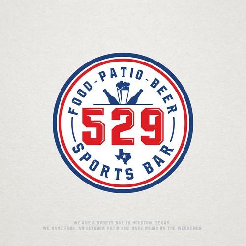 Circle badge logo concept for 529 Sports Bar.
