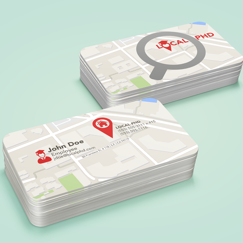 "Business Card Redesign for Local Lead Generation Company ""Local PhD"""