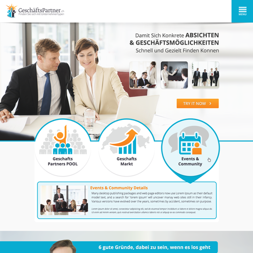 Top Landing page design for 'Geschäftspartner'