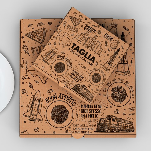 Cool Pizza Box Design Illustration