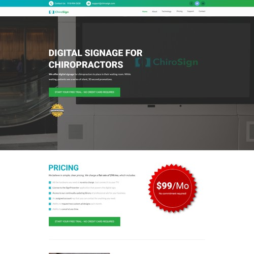 Home Page for Chiropractor Digital Signage Company
