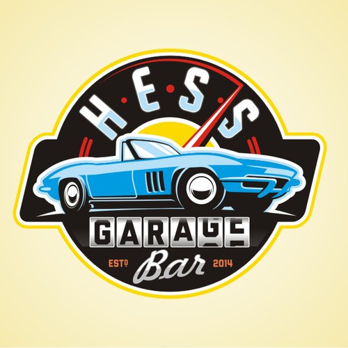 Hot cars and cold beer Hess Garage Bar needs a logo to put it all together..