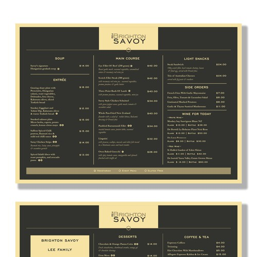 Brighton Savoy Restaurant menu