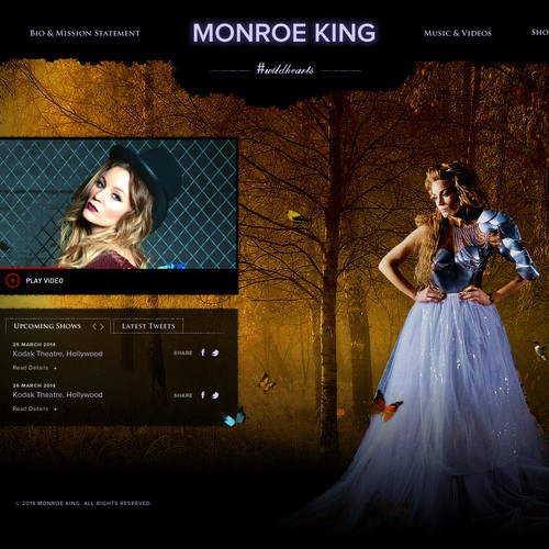 Music *Pop Singer* MONROE KING Website Design needed!!