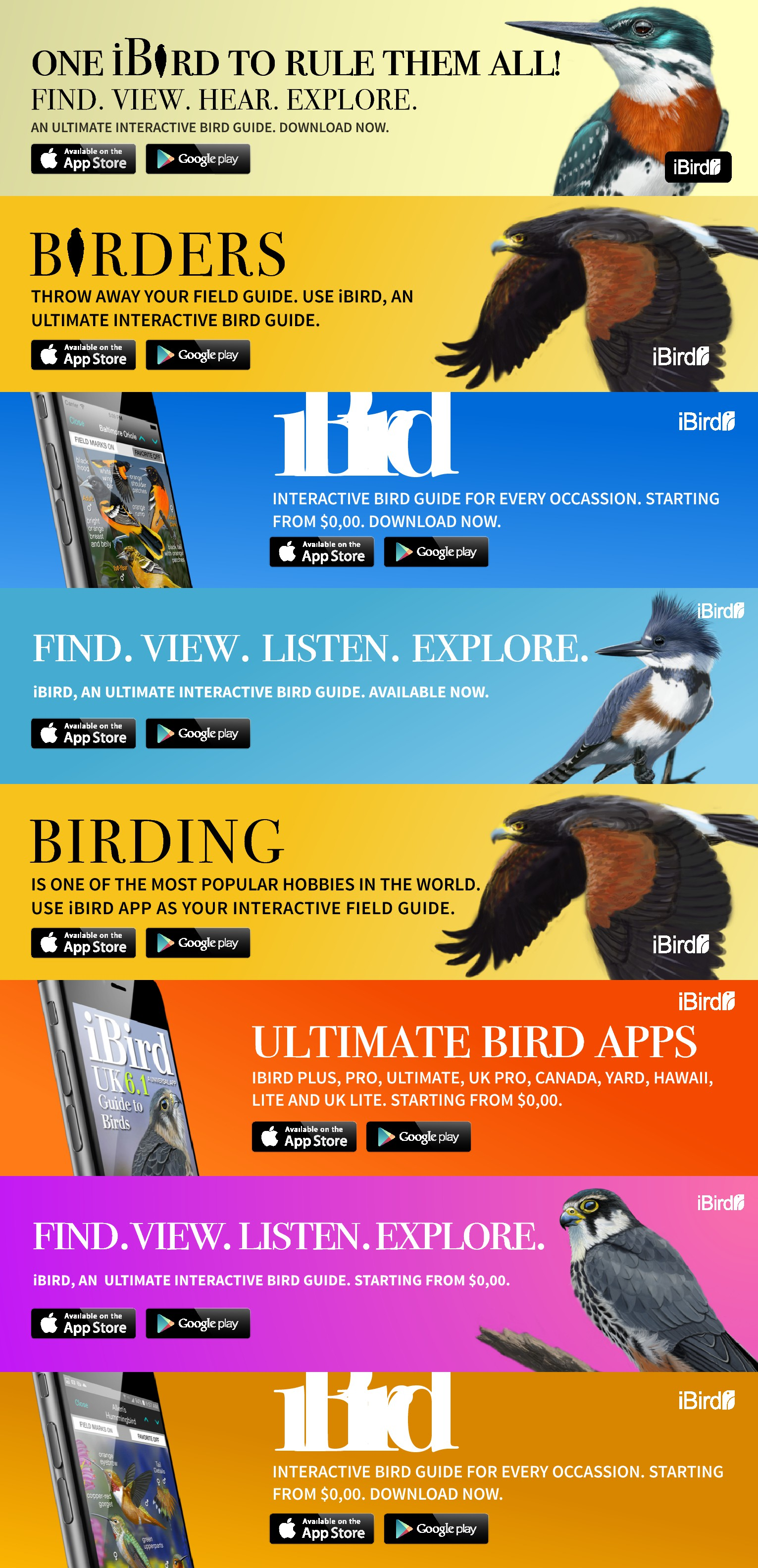 Create 3 winning banner ads for the iBird Guide to Birds app