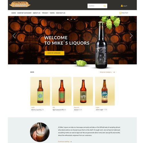 Web page for beer shop