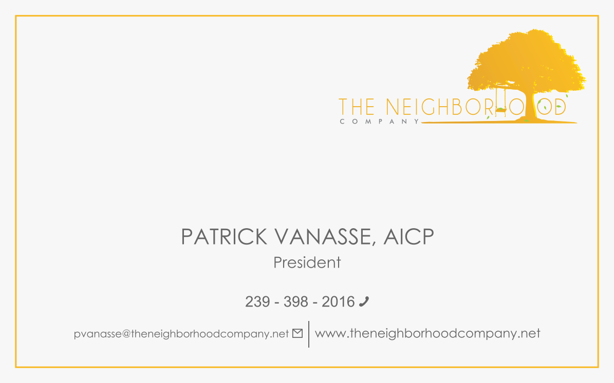 Business card for The Neighborhood Company