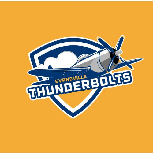 Modern Sports Team logo with airplane and flat colors