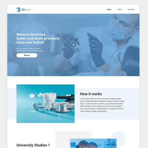 Landing page for dentists to learn more about high precision dentures
