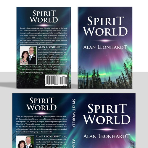 "Design a cover for an intriguing book about Christian spiritual experiences called, ""Spirit World."""