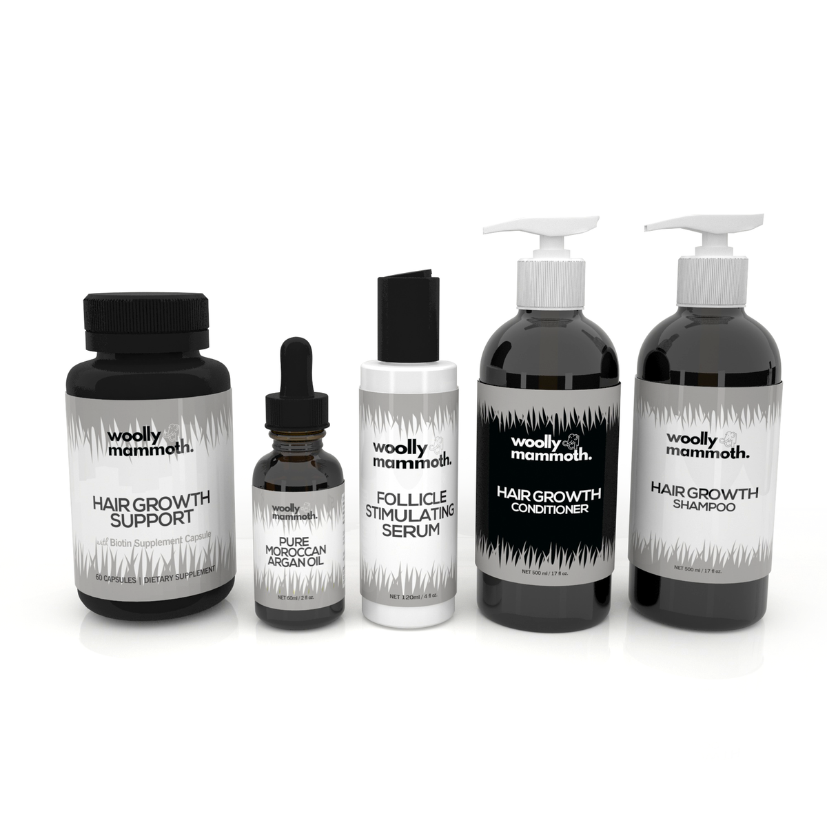 Label for 5 products in men's hair growth