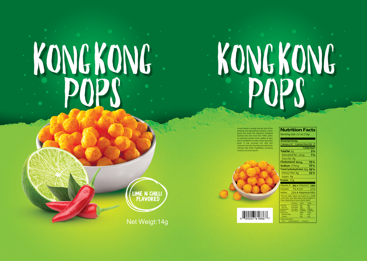 Design a colorful packaging for our new extruded snack product line.