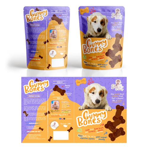 Packaging of gummies for dogs.
