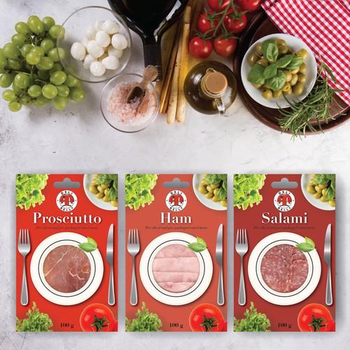 The range of packaging for pre-sliced meet