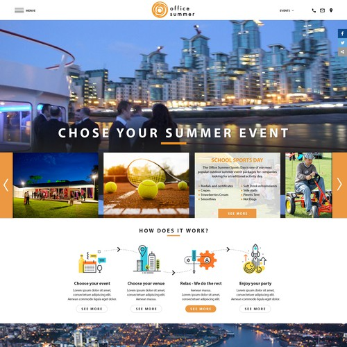 corporate summer event website and logo
