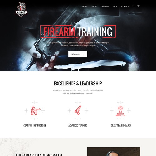 Homepage Design for Force Defensive Firearm Training