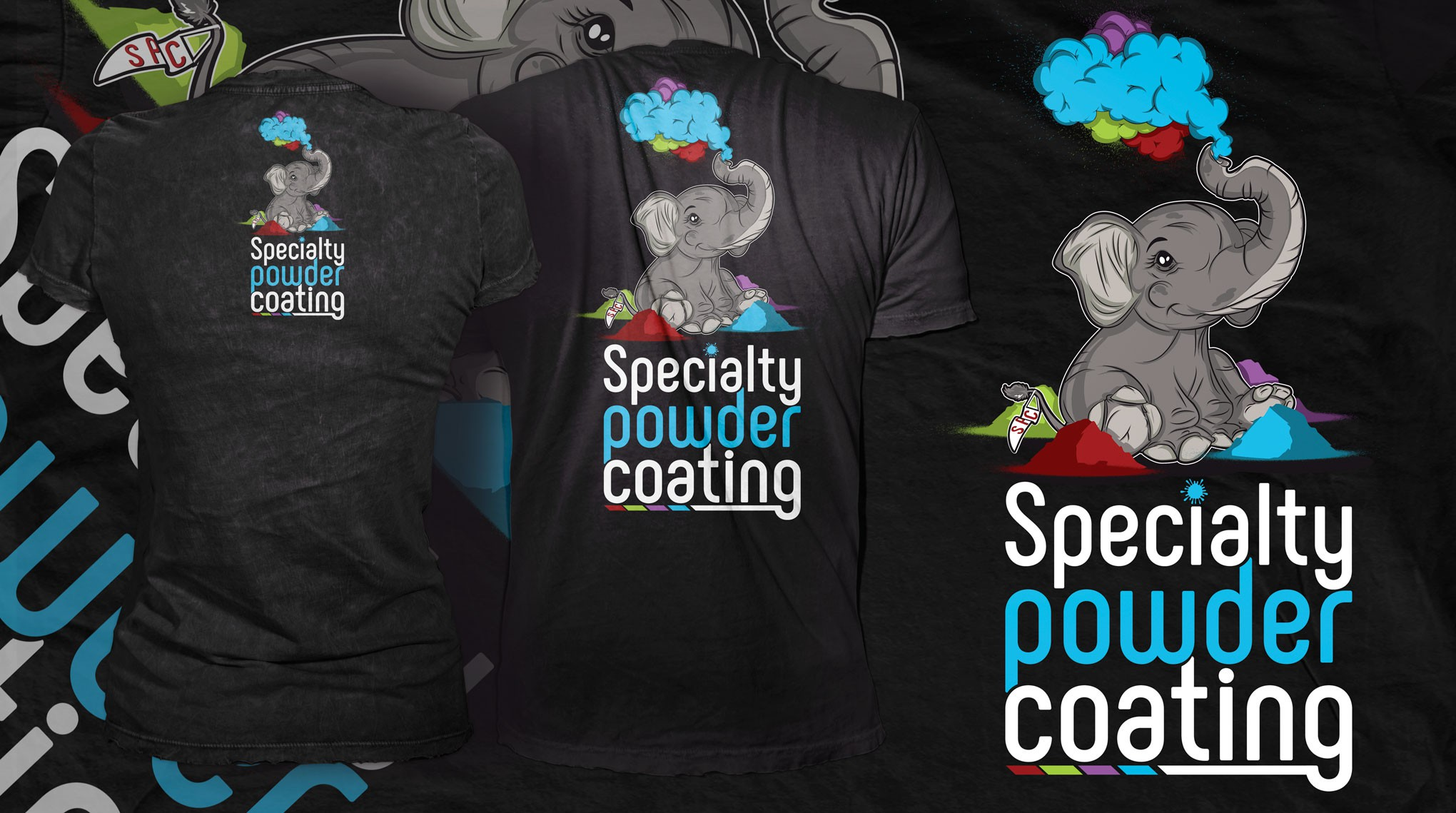 Elephant mascot for Specialty Powder Coating