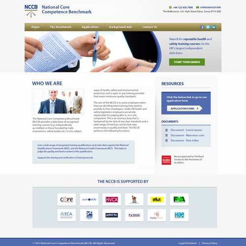 Website design for National Core Competence Benchmark