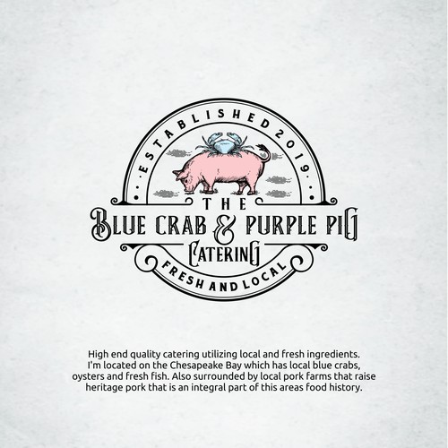 Blue crab and purple pig catering logo