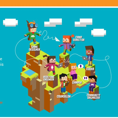Social network illustration for Minecraft enthusiasts.