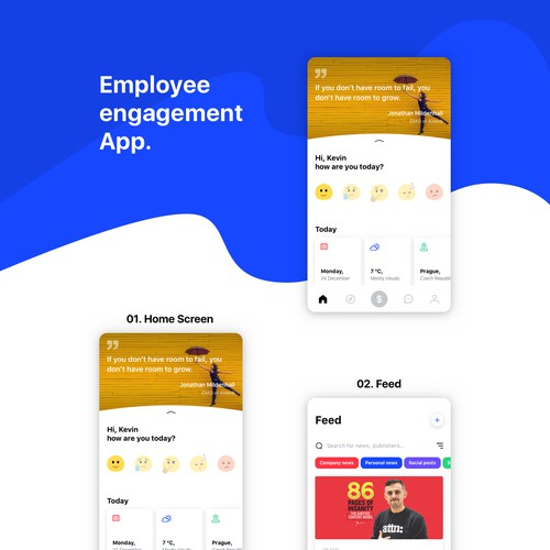UX&UI design for employee engagement app.