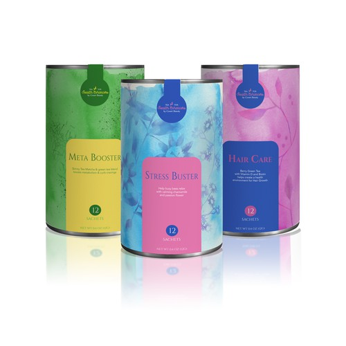 Vibrant and eye catching packaging for herbal tea product line.