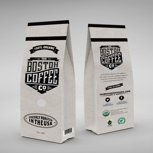 Logo and packaging concept for small batch coffee company operating out of Boston.