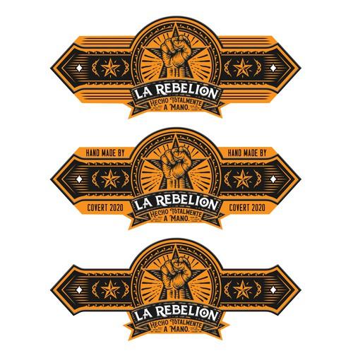 Detailed label for La Rebelion cigars