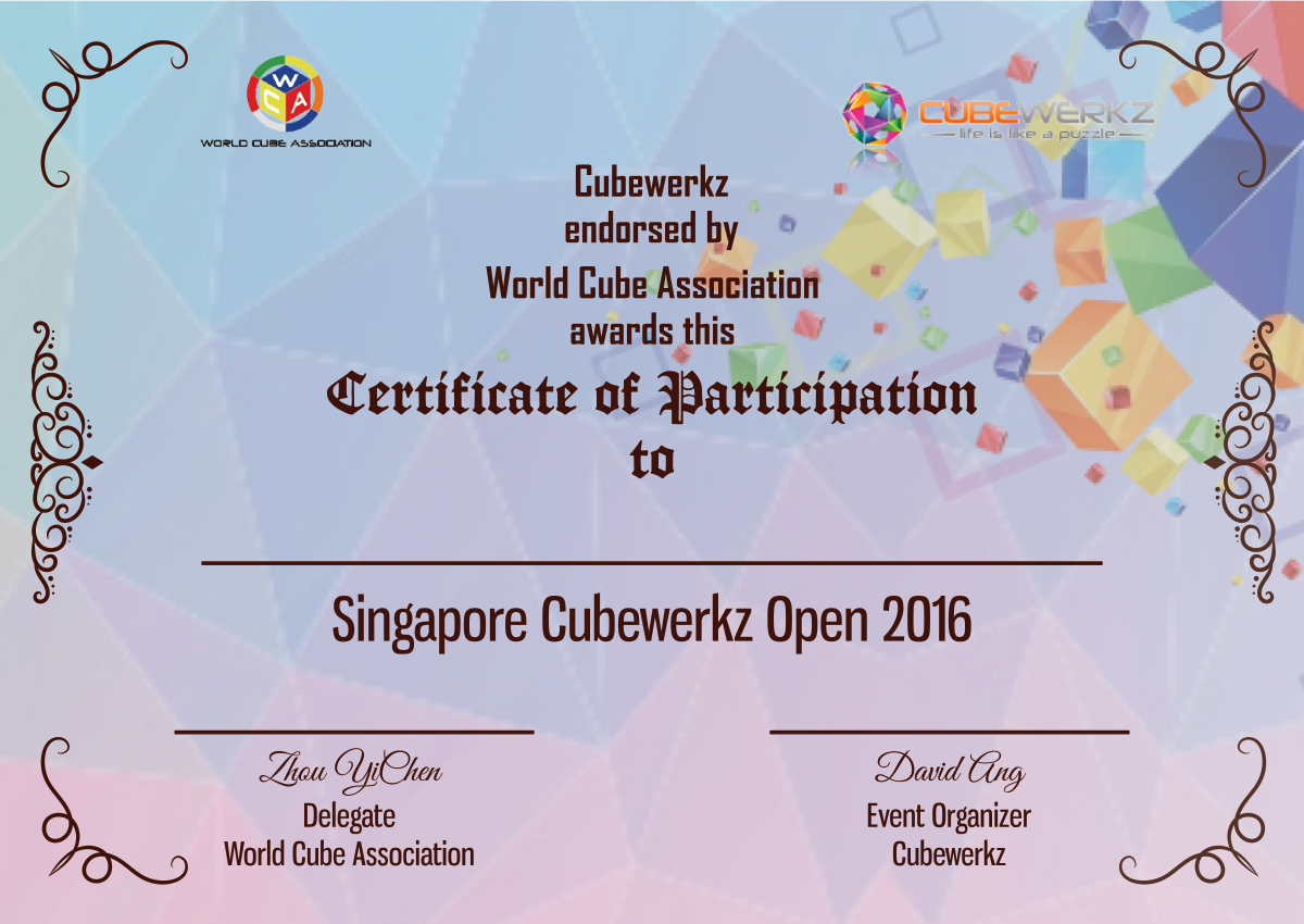 Certificate of Participation using the design style