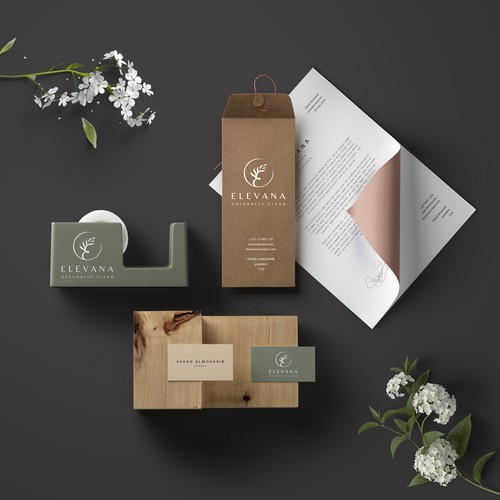 Logo and brand identitiy for Elevana natural cosmetics brand