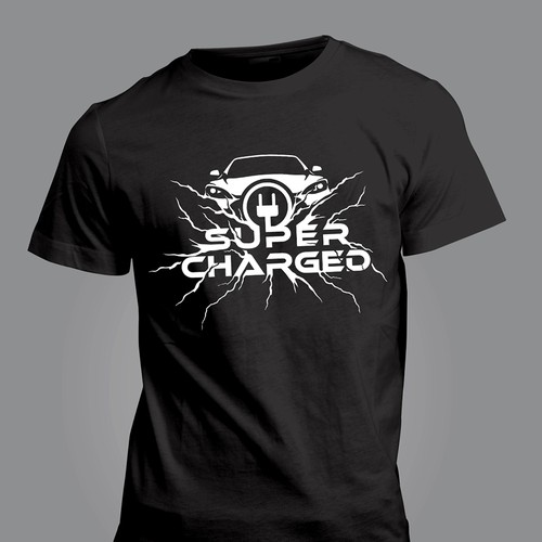 """""""Super Charged"""" T-Shirt Design - For Fans Of Electric Cars"""