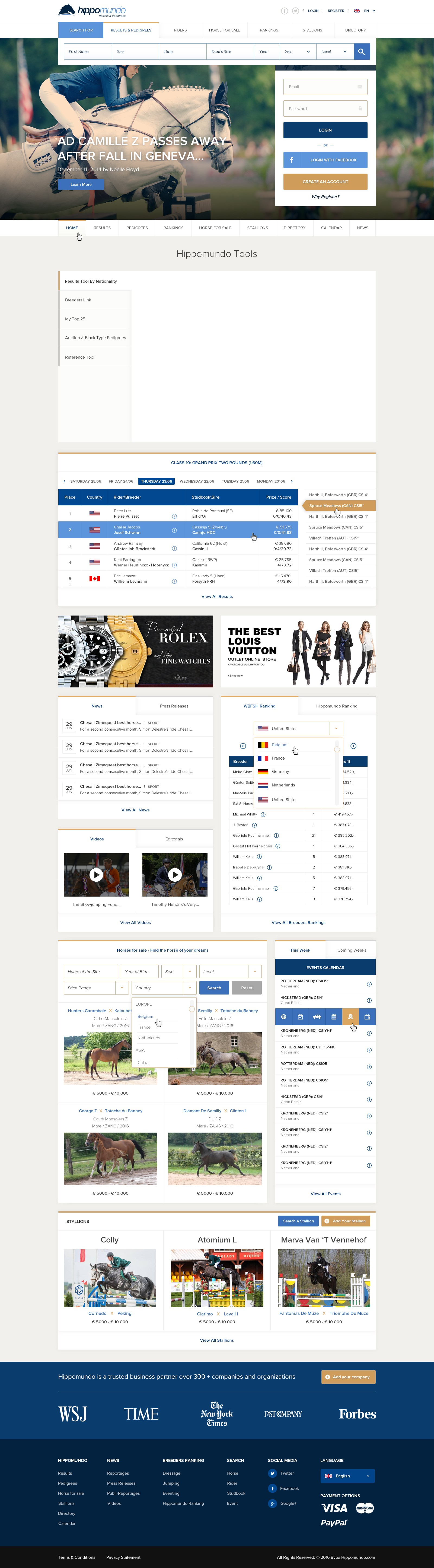 New webdesign for the global leader in horse results and pedigrees