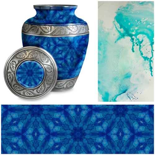 Blue Repeat pattern for urn